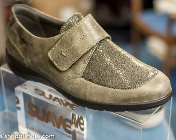 Lucille grey shimmer leather velcro shoe.